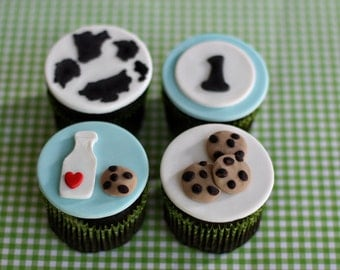 Fondant Milk and Cookies, Cow Print and Age Toppers for Decorating Cupcakes or Cookies for Your Baby Shower or Birthday Party