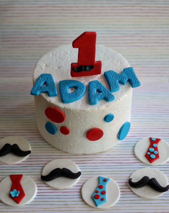 Fondant Mustache Age, Polka Dot and Name Cake Decorations Plus Coordinating Tie and Mustache Cupcake Toppers