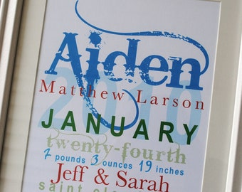 "FRAMED Personalized Baby Stats - ""The Aiden"""