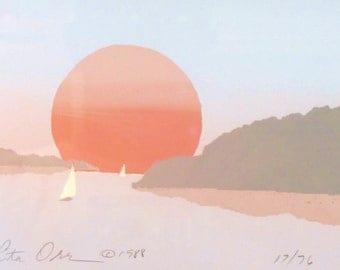 1980s Modern Framed Print  Nature Sunset Sunrise Wall Hanging SIGNED
