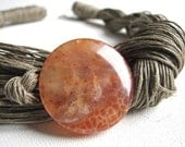 Orange Agate- linen necklace - GreyHeartOfStone