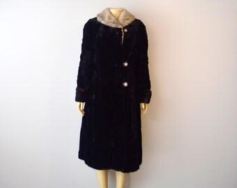 Vintage  Real Black Fur Beaver 1960s size aprox M/L