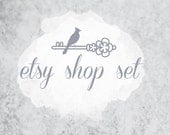 Professional Premade Etsy Shop Set - Moon Shadows- (Banner, avatar, placeholders)