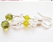 STORE CLOSING-50% 925 REAL Silver- Floating Olivine Swarovski Crystal Rondelle Earrings