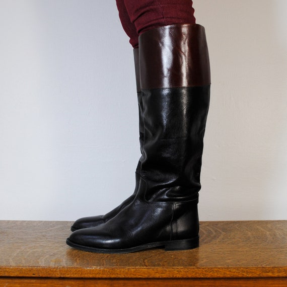 vintage riding boots / black and maroon leather (size 8)