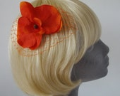 Orange Flower Hair Comb- Orange Orchid Hair Comb
