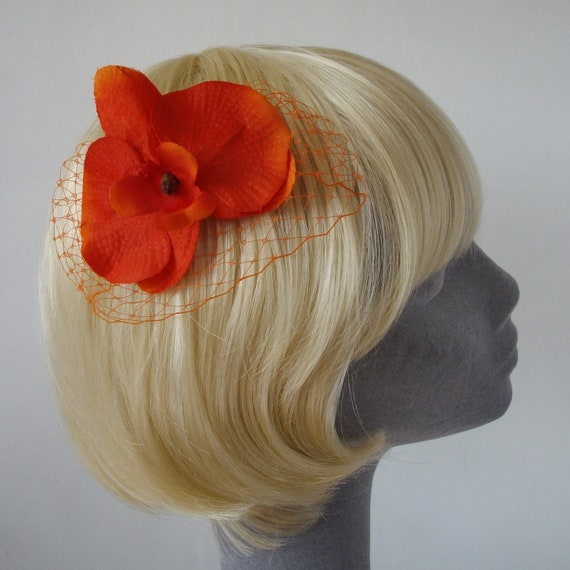 Orange Flower Hair Comb- Orange Orchid Hair Comb