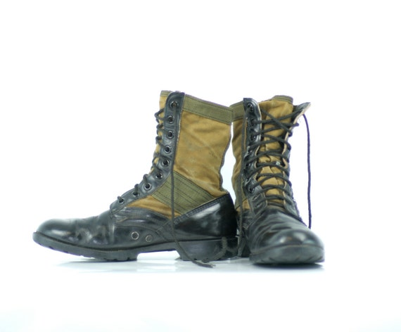 Vintage Combat Boots Green and Black Mens 10R