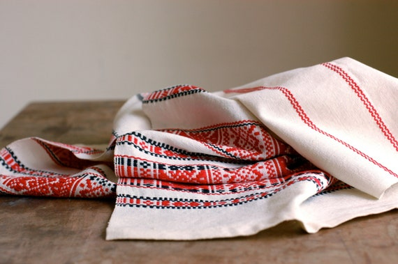 Vintage Woven Table Runner in Red, Black and Beige