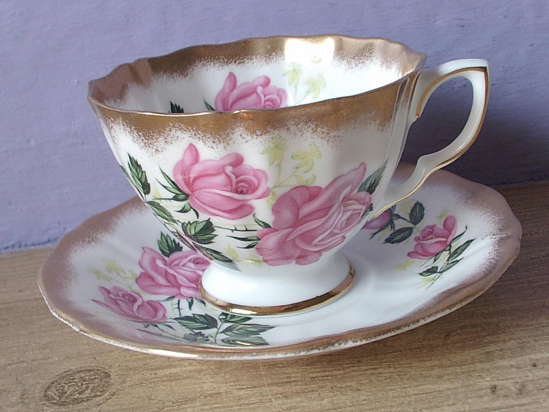 vintage pink rose tea cup and saucer set adderley by. Black Bedroom Furniture Sets. Home Design Ideas