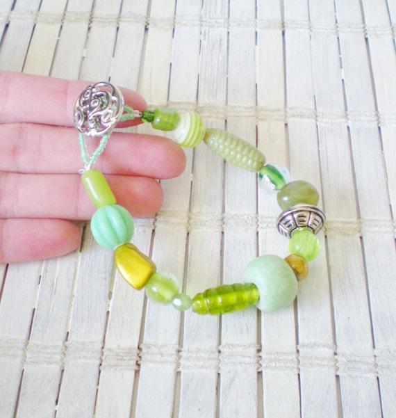 Grass Green Beads Bracelet OOAK Design