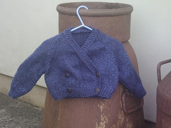Midnight blue, sparkly, handknit, cross-over cardigan