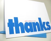 Casual Thank You Note Card Bold Blue Type Modern Thanks Card Blue Blank Note Card