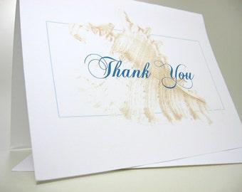 Thank You Card Custom Note Card Classic Sea Shell Blue Sand Beige Beach Wedding Thanks