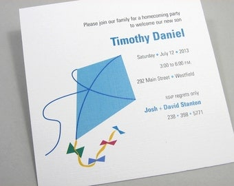 Custom Baby Announcement Blue Toy Kite LGBT Adoption Shower Invitation