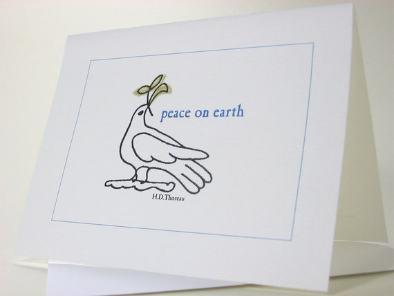 Holiday Christmas Card Thoreau Peace Dove Blue Traditional Christmas Greeting Card Note Blank Card