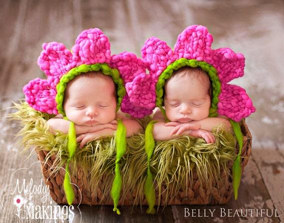 Newborn Photo Prop Flower Bonnet Knit Pattern - Knit Flower Bonnet Pattern - Flower Bonnet Knitting Pattern - Knit Flower Baby Bonnet