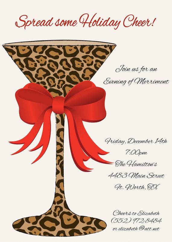 PRINTED Christmas Party Invitation Leopard by ...
