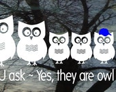 Owl Family Vinyl Car Window Decal - 5.5h x 12.2w - Set of 6 owls...PaPa MaMa and 4 little ones and wording below -  FREE pink bows Blue caps