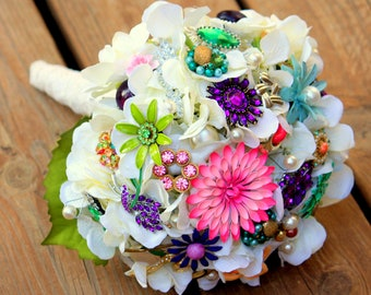 Brooch Bouquet Vintage Wedding Lace bridal bouquet with free toss bouquet!!