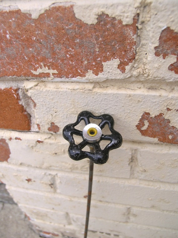 Silver and Black Metal Flower, Industrial Decor for your home or garden.