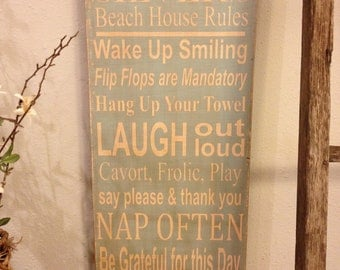 Beach House family rules subway style art wood sign - personalized - beach house blue - distressed primitive looking sign