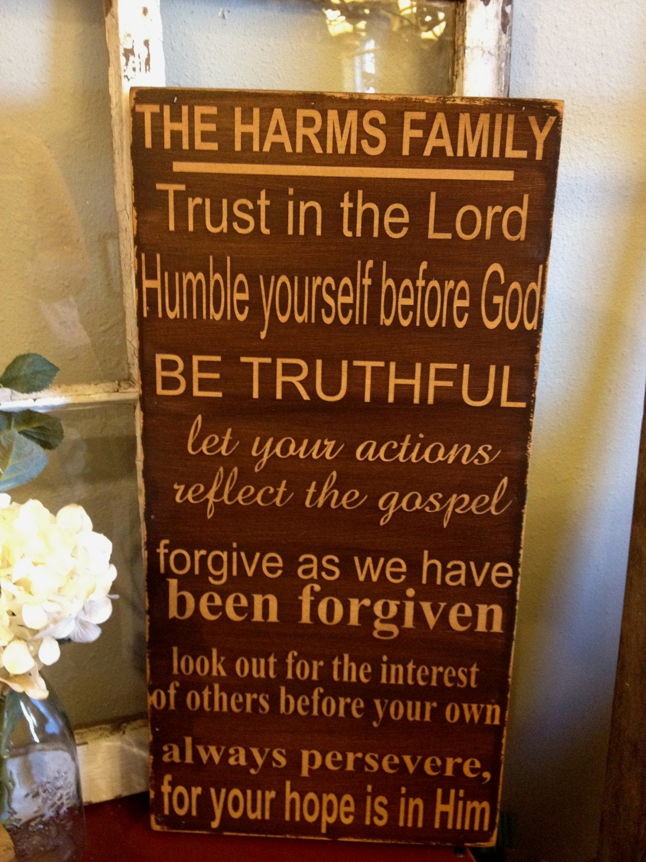 Custom Family Rules Wood Sign Subway Style Art Christian