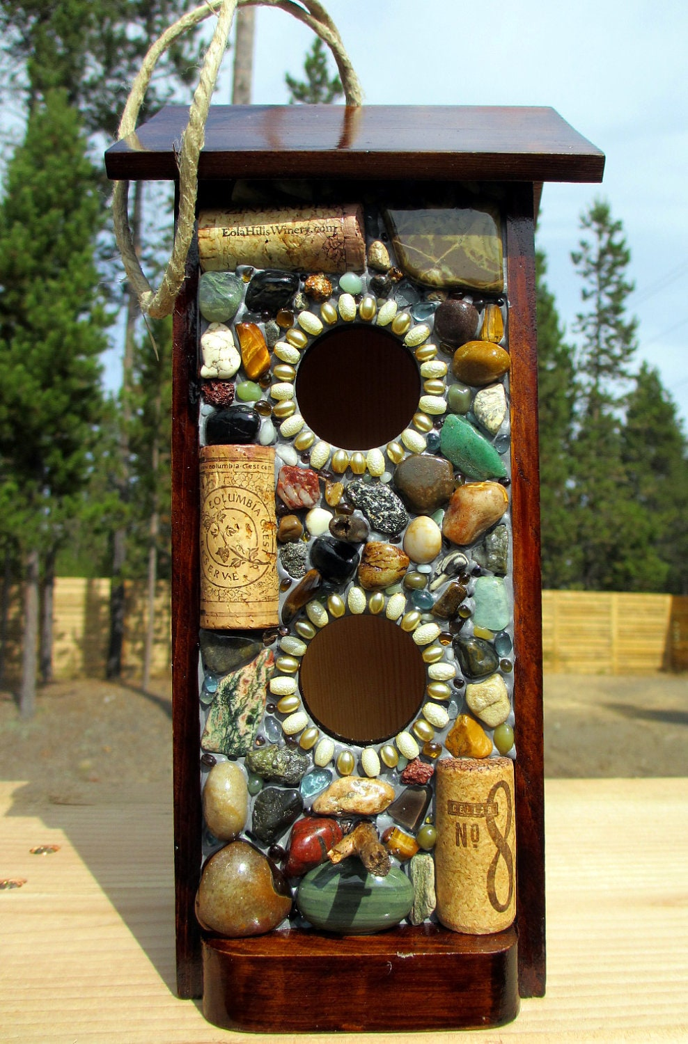 Mosaic Stone And Wine Cork Birdhouse Bird Feeder