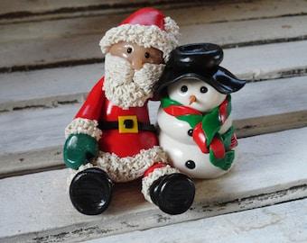 Santa and Snowman Christmas figurine