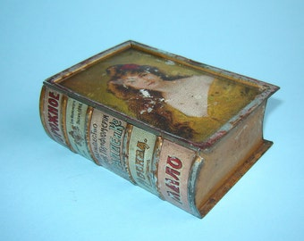 Antique Imperial Russian Litho Tin Traveling SOAP BOX Case - Like a BOOK - Rare