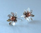 Flower earrings silver and copper daisy posts