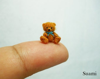 Micro Mohair Bear 0.4 Inch - Tiny Crochet Miniature Teddy Bear Blue Bow - Made To Order