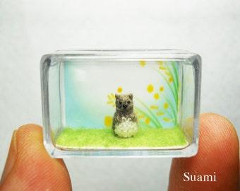 Micro Miniature Groundhog -  Extreme Tiny Crocheted Grey Groundhog Beaver - Made To Order