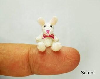 Crochet Bunny Rabbit 0.8 Inch - Tiny Micro Amigurumi Dollhouse Crochet Miniature Animals - Made To Order
