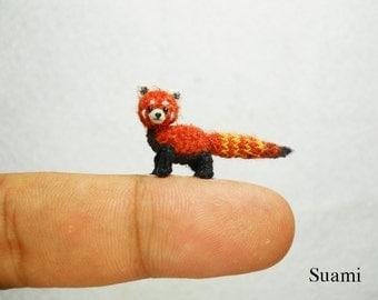 Miniature Red Panda Shining Cat - Micro Mini Amigurumi Crochet Art Tiny Doll Animal - Made To Order