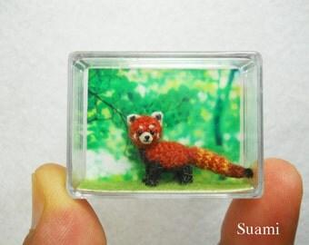 Micro Red Panda - Tiny Amigurumi Crochet Shining Cat - Made To Order