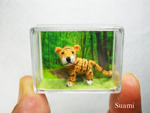 Micro Yellow Tiger - Mini Tiny Crochet Dollhouse Miniature Tigers - Made To Order