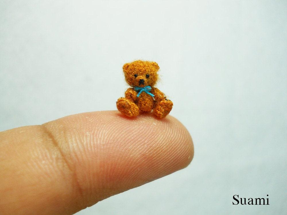 Micro Mohair Bear 0.4 Inch Tiny Crochet Miniature Teddy Bear
