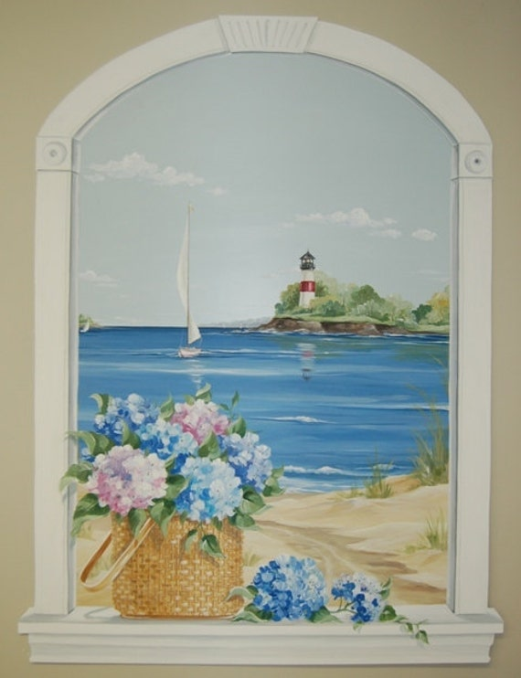 Hand painted window murals custom ordered to your size for Custom mural painting