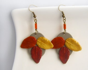 Fall Leaves Dangle Earrings, Autumn Leaves, Polymer Clay