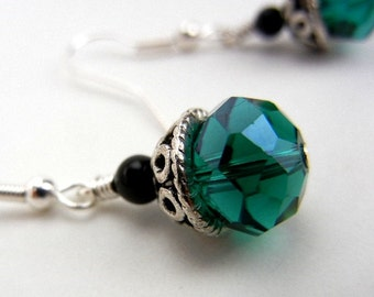Green crystal earrings with fancy silver bead caps // Christmas earrings // emerald green // holiday jewelry