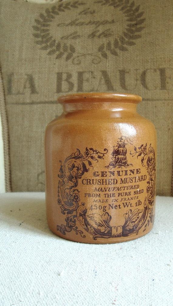 Vintage FRENCH Mustard Pot, 1 lb Crock, Moutarde, from Paris Flea Market