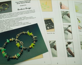 "Tutorial for the ""Faux Beach Glass and River Pebble Bangle"""