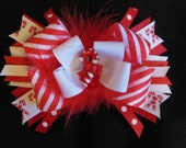 Candy cane hairbow, large 5 inch bow