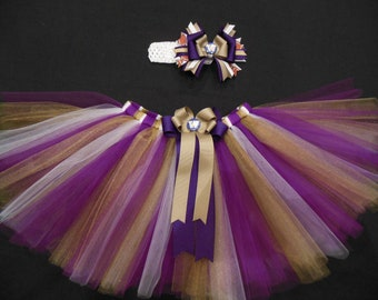Washington Huskies tutu set, purple and gold custom made your choice of size NB-4t