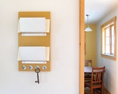 MUSTARD: modern wall mount mail holder double slot organizer key rack home entry office studio work space organization
