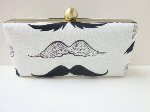 mustache clutch purse/mustache fashion clutch/quirky fashion clutch