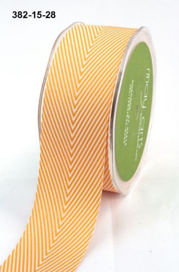 5 Yards Orange Chevron Twill Ribbon, 1.5 inch wide, Herringbone Ribbon