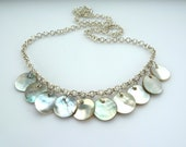 White shell necklace - Mother of pearl circles on silver belcher chain, drop, dangle, round
