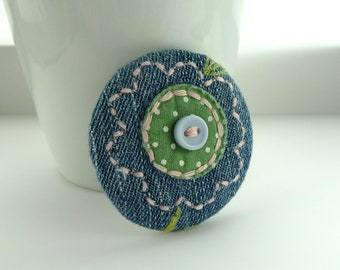 fabric flower badge -- Blue denim fabric embroidered pink and green flower pin brooch